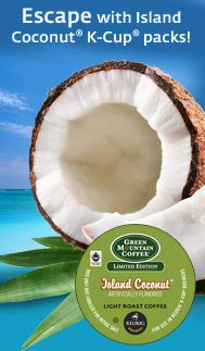 Escape with Island Coconut K-Cup packs! #keurig #greenmountaincoffee #kcup #spring #coconut #coffee