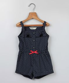 Look at this Navy Heart Bow Romper - Infant & Toddler on #zulily today!