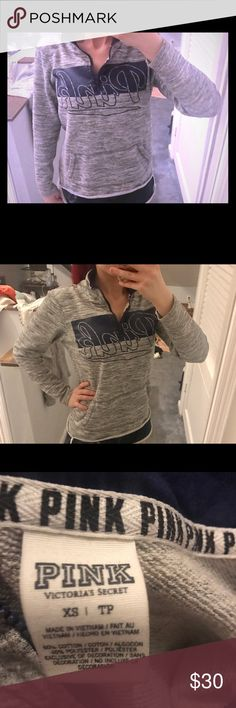 Vs pink pullover hoodie Victoria secret pull over hoodie!! No hood!! Heathery gray and navy blue!!! Great condition!!! PINK Victoria's Secret Tops Sweatshirts & Hoodies