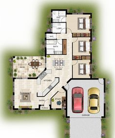 2D colour floor plans modern-floor-plan