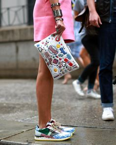 Carrie Colbert, another fashion blogger, has a bag that seems to be starting its own blog. (Photo: Craig Arend for The New York Times)