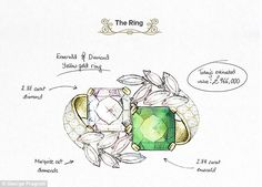 LUXURIA: Iconic Engagement Rings. The sketch of Jacqueline Bouvier's Emerald engagement ring.