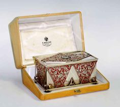 The Fabergé enamelled silver and hardstone cigarette box.