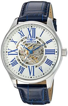 Men's Wrist Watches - Invicta Mens Vintage Automatic Stainless Steel and Blue Leather Casual Watch Model 22567 >>> You can find more details by visiting the image link. (This is an Amazon affiliate link)