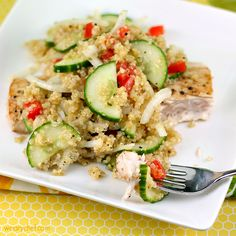 This light Quinoa and Cucumber Salad Recipe is a perfect addition to any healthy dinner!