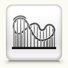 Square Button with Roller Coaster royalty free vector art vector art illustration