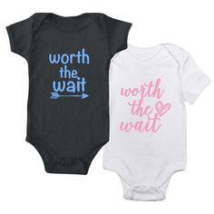 Worth the Wait  baby bodysuit  one piece  baby by BurlapAndYarn