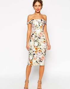 Wedding Guest Fashion: 12 Dresses from the ASOS Wedding Collection We Love --- Bardot Floral Off Shoulder Pencil Dress Show your romantic side in this beautiful off the shoulder dress. The floral print and lightweight fabric will have you feeling like a star.