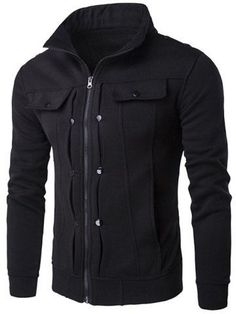 GET $50 NOW   Join RoseGal: Get YOUR $50 NOW!http://m.rosegal.com/mens-jackets/stand-collar-buttoned-pleated-zip-750146.html?seid=7100932rg750146