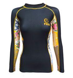 NJ FIGHT SHOP - Fuji Women's Kimono Rash Guard Black Gold, $59.99 (http://www.njfightshop.com/fuji-womens-kimono-rash-guard-black-gold/)