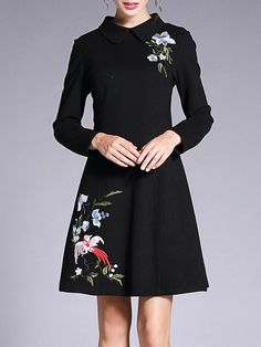 Shop Midi Dresses - Black Embroidered Long Sleeve A-line Viscose Midi Dress online. Discover unique designers fashion at StyleWe.com.