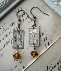 Steampunk ANTIQUE watch parts earrings amber topaz faceted glass beads vintage jewellery