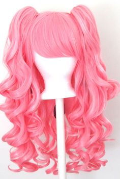 20'' Gothic Lolita Wig + 2 Pig Tails Set Light, Dark Pink Mix Blend Cosplay NEW | eBay