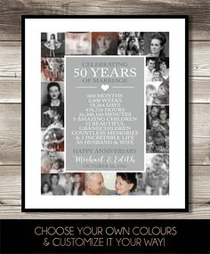 50th Anniversary Photo Collage, Digital Print, gift 50th Anniversary present; Personalized; milestone, keepsake gift, 50 Years of Marriage by ForEvaPrints on Etsy