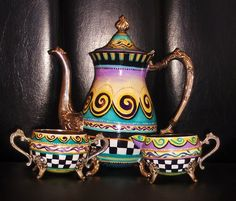 Hand Painted Tea Set by Misty's Creations