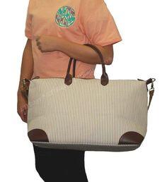 Monogram Overnight Khaki Seersucker Weekender Tote Bag
