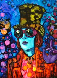 """ARTFINDER: """"Good morning Starshine!"""" by raffaella bertolini - Johnny Depp/Willy Wonka inspired painting.  """"Rainbow drops - suck them and you can spit in six different colours."""" ― Roald Dahl, Charlie and the Chocolate F..."""