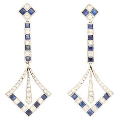 Diamond  Sapphire Platinum Earrings | From a unique collection of vintage dangle earrings at https://www.1stdibs.com/jewelry/earrings/dangle-earrings/