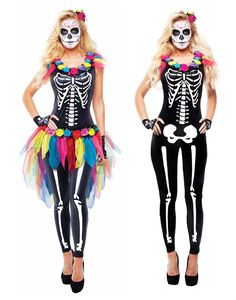 Black Skeleton Day Of The Dead Celebrity Sugar Skull Adult Costume #Goddessey