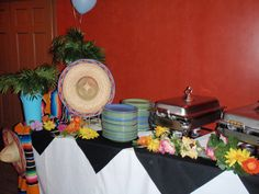 ERIN!!!Mexican themed buffet tables.....