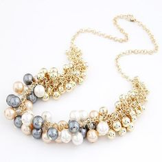 Women Colares Femininos Simulated Pearl Necklace for Women Fashion Gold Beads Choker Necklaces Statement Jewelry