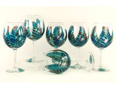 Hand Painted Wine Glasses  Turquoise and by HandPaintedPetals