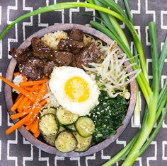 Bibimbap: Korean Rice Bowl with Beef and Vegetables