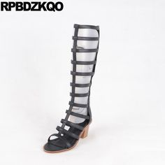 2017 Knee High Open Toe Roman Chunky Black Ladies Heel Boots New Luxury Brand Shoes Women Summer Gladiator Fashion Female Long. Yesterday's price: US $97.92 (80.62 EUR). Today's price: US $62.67 (51.60 EUR). Discount: 36%.