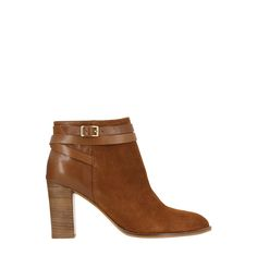 e5e7f43c9b8 Boots à talon bi matière cuir et daim Mode Urbaine