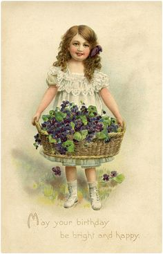 This is a lovely collection of Happy Birthday Flower Images! These beautiful illustrations are all scans of antique Birthday Postcards, featuring flowers. Vintage Greeting Cards, Vintage Ephemera, Vintage Postcards, Vintage Girls, Vintage Children, Vintage Pictures, Vintage Images, Happy Birthday Flowers Images, Vintage Prints
