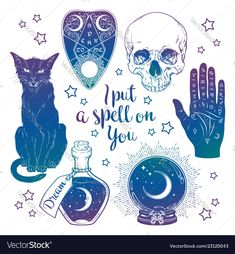 Magic set - planchette skull palmistry hand crystal ball bottle and black cat hand drawn art isolated. Ink style boho chic sticker patch flash tattoo or print design vector illustration. - Buy this stock vector and explore similar vectors at Adobe Stock Flash Art Tattoos, Body Art Tattoos, How To Draw Tattoos, Halloween Illustration, Black Cat Illustration, Tattoo Illustration, Kugel Tattoo, Crystal Ball Tattoo, Tattoo P