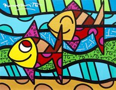 Available for sale from Eden Fine Art, Romero Britto, Come Along Acrylic paint and diamond dust on canvas, 28 × 36 cm Square One Art, Bright Colors Art, School Murals, Arte Country, Graffiti Painting, Galerie D'art, Arte Pop, Beach Art, Fish Art