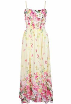 Yellow Spaghetti Strap Floral Pleated Dress pictures
