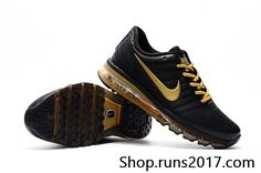 New Coming Nike Air Max 2017 Leather Shoes Black Gold