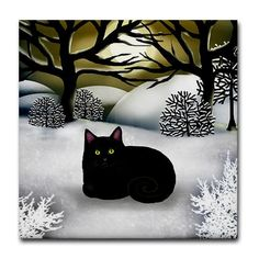 Black Cat Winter Sunset Art Tile, by Eva Designs on Cafepress