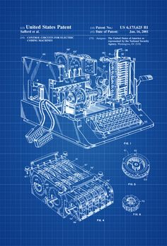 Enigma Machine Patent - Patent Print, Wall Decor, Spycraft, WWII, Spies, Secret Messages, Cipher Mac