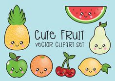 Premie Vector Clipart - Kawaii Fruit Clipart - Kawaii Clip Art Set - hoge kwaliteit vectoren - Instant Download - Kawaii Fruit Clipart