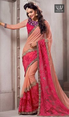 Luxurious Hot Pink Net Designer And Party Wear Saree Precise elegance will come out from your dressing style with this hot pink lycra and net designer saree. The incredible attire creates a dramatic canvas with embroidered, lace, resham and zari work. Comes with matching blouse.