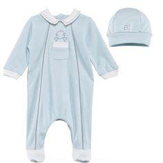 Emile et Rose Pale Blue Teddy Pocket Babygrow and Hat