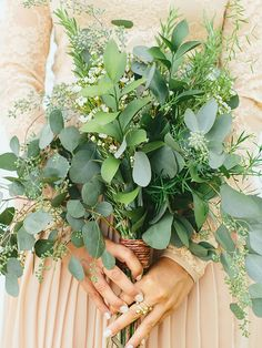 15 Stunning Greenery Wedding Bouquets A leafy bridesmaid bouquet with rosemary and eucalyptus Wedding Flower Guide, Diy Wedding Bouquet, Bride Bouquets, Floral Wedding, Wedding Colors, Greenery Bouquets, Bridesmaid Bouquets, Purple Wedding, Bridesmaids