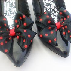 Polka dot shoes! Black & Red Polka Dot Satin Bow Shoe Clips Dorothy Bow £5.99
