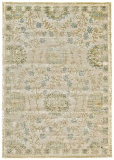 Abbey Collection in cool tones of celadon, ivory and sky. #interiordesign #decor #rug #floor #green #ivory #sky #blue