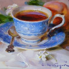 "Daily Paintworks - ""Tea, Peach and Blossoms"" - Original Fine Art for Sale - ©… Tea Cup Art, Tea Cups, First Art, Fine Art Gallery, Lovers Art, Art For Sale, Art Inspo, Oil On Canvas, Art Drawings"