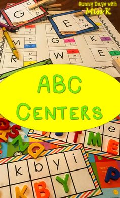 Kindergarten Beginning of the Year Centers - ABC Centers - Back to School Bundle - First Centers - Kindergarten ABC - Alphabet Kindergarten Lesson Plans, Kindergarten Centers, Kindergarten Reading, Kindergarten Classroom, Abc Centers, Reading Centers, Literacy Centers, Literacy Stations, Alphabet Activities
