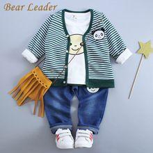 Bear Leader Baby Boy Clothes 2016 Autumn Baby Clothing Sets Cartoon Panda Printing Jackets+T-shirt+Jeans 3Pcs for Baby Clothes(China (Mainland))