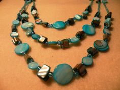Three Strand Turquoise Nechlace by OneOfAKindDesignsByD on Etsy