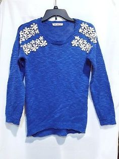 #PinkRose Premium XS Round Neck Blue Knitted Cotton Long Sleeve #Sweater flowers