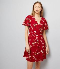 Red Floral Print Wrap Front Dress