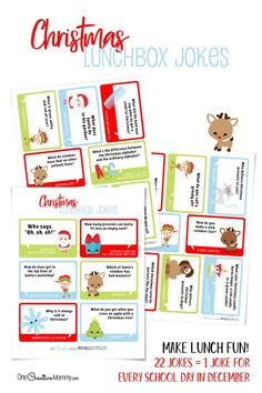 Christmas Lunchbox Jokes for Kids - Christmas Lunchbox Jokes for Kids Holly - Productive Pete Christmas Puns, Kids Christmas, Cat Presents, Le Lot, Cute Jokes, Lunch Box Notes, Winter Holidays, Kids Holidays, Love Notes