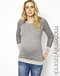Image 1 ofNew Look Maternity Lace Sleeve Sweat